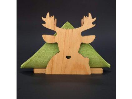 Dřevěný stojánek na ubrousky ve tvaru jelena, masivní dřevo, velikost 13 cm