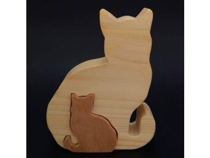 Dřevěné puzzle kočky, masivní dřevo dvou druhů dřevin, 11,5x15x3 cm