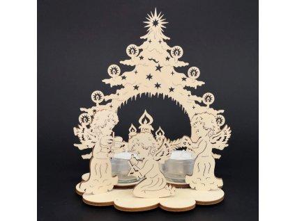 Vánoční dřevěný svícen - stromek se svíčkami