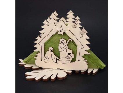 Dřevěný stojánek na ubrousky s vánočním motivem betléma, velikost 10 cm