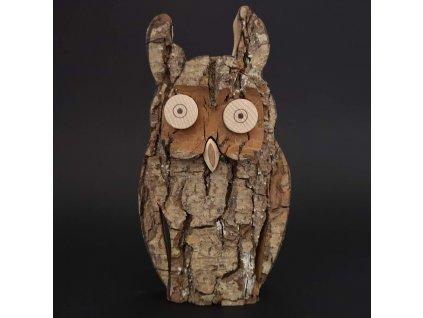 Dřevěná sova s kůrou, masivní dřevo, výška 16 cm