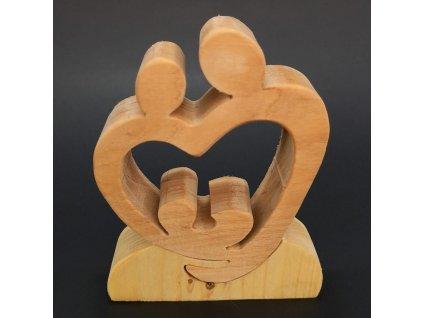 Dřevěné puzzle betlém v srdci, masivní dřevo dvou druhů dřevin, 9x12x3 cm