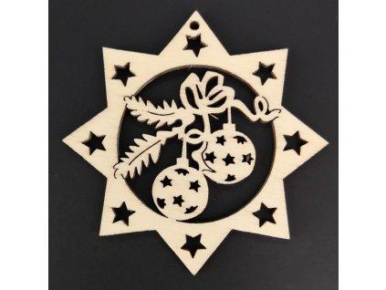 Dřevěná ozdoba hvězda s koulemi 8 cm