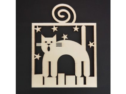 Dřevěná ozdoba kočka 9 cm