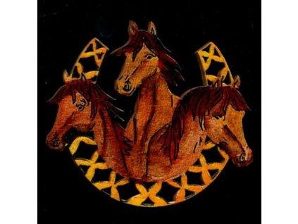 Dřevěná ozdoba barevná koně v podkově 6 cm