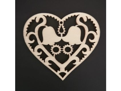 Dřevěná ozdoba srdce s květinami 8 cm