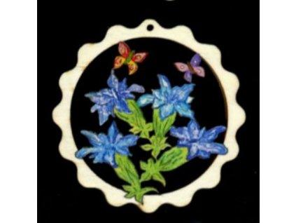 Dřevěná ozdoba barevná vlnka s květinami 9 cm