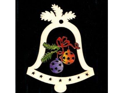 Dřevěná ozdoba barevná zvonek s koulemi 9 cm