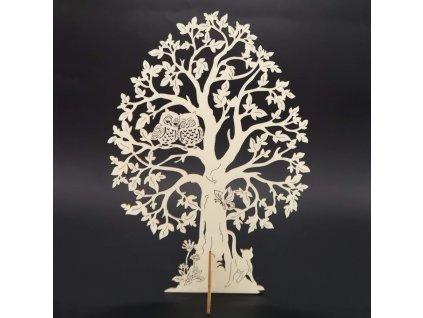 Dřevěný 3D strom se sovami, přírodní, výška 28 cm