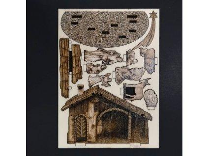 Dřevěný 3D vylamovací betlém sépiový 7 cm
