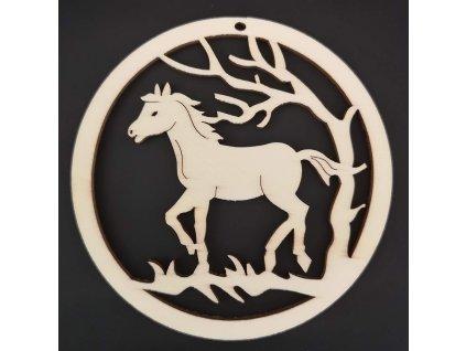 Dřevěná ozdoba kůň v kolečku 7 cm
