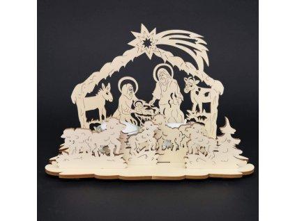 Dřevěný svícen betlém, 13 cm
