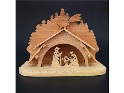 Dřevěný betlém, masivní dřevo, 14,5x11x3 cm