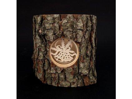 Vánoční dřevěný svícen s kůrou - zvonky