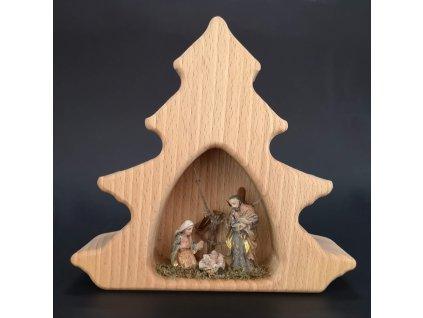 Dřevěný betlém s figurkami ve stromku