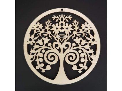 Dřevěná ozdoba strom v kolečku 10 cm