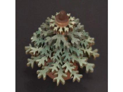 Dřevěná dekorace 3D strom zelený 5 cm