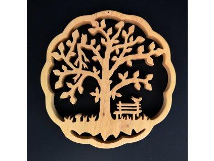 Dřevěná dekorace strom v kruhu, masivní dřevo, průměr 17 cm