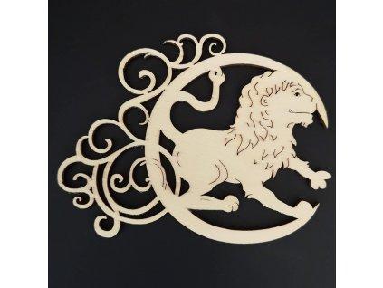 Dřevěná ozdoba - znamení lev 13 cm