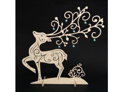 Dřevěný 3D jelen s kuličkami 38 cm