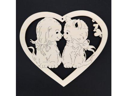Dřevěná ozdoba srdce kočka a pes 17 cm