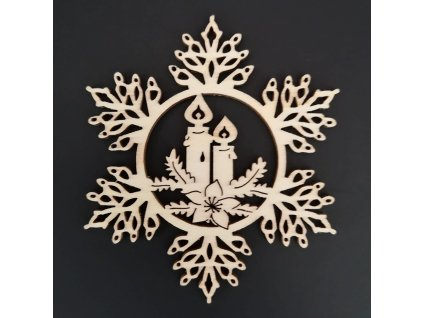 Dřevěná ozdoba vločka se svíčkami 20 cm