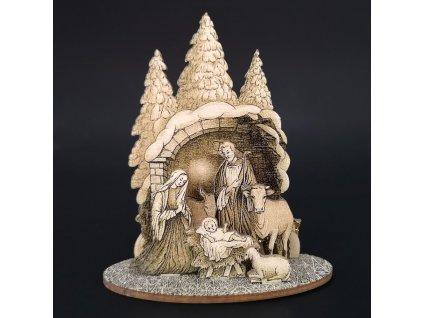 Dřevěný skládací betlém sépiový  3D 9 cm