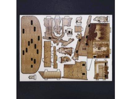 Dřevěný 3D vylamovací betlém sépiový 6 cm