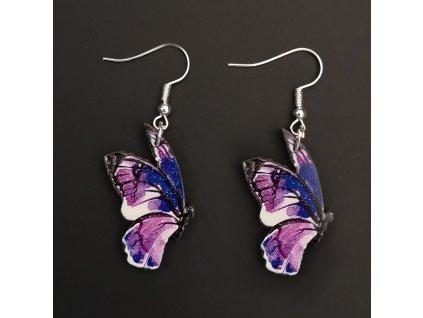 Dřevěné náušnice motýl fialový, 3 cm