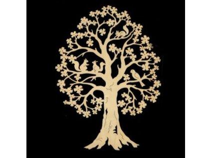 Dřevěná dekorace strom s veverkami, výška 27 cm