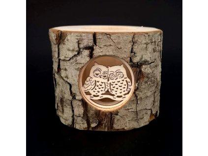 Dřevěný svícen z kůrového kmenu s vkladem - sovy