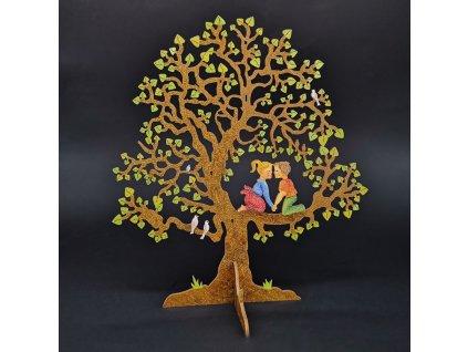 Dřevěný 3D strom s dětmi, barevný, výška 20 cm