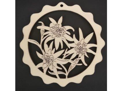 Dřevěná ozdoba vlnka s květinami 9 cm