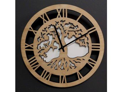 Dřevěné hodiny nástěnné kulaté, motiv stromu s kořeny, masivní dřevo, průměr 29 cm