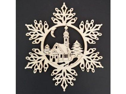 Dřevěná ozdoba vločka s kostelem 9 cm