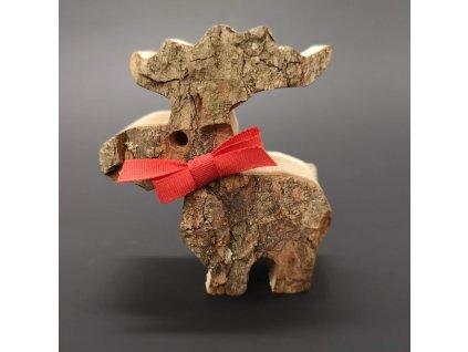 Dřevěný sob s kůrou, masivní dřevo, výška 7 cm