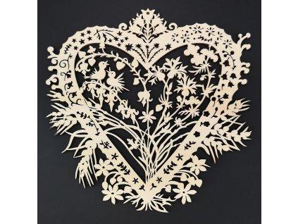 Dřevěná ozdoba srdce s květinami 20 cm
