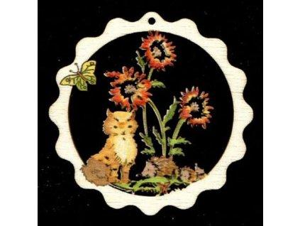 Dřevěná ozdoba barevná vlnka s kočkou 9 cm