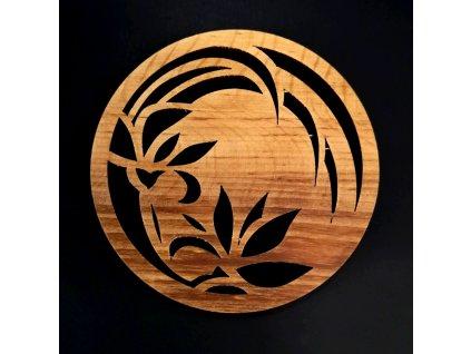 Dřevěný podtácek kulatý s květinou, masivní dřevo, průměr 10 cm