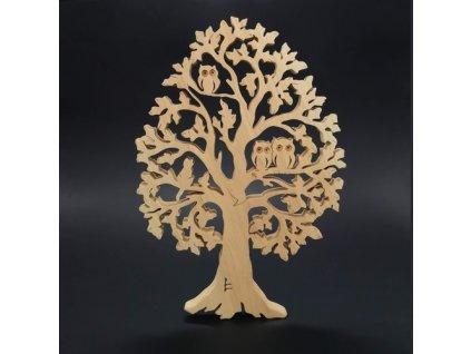 Dřevěný strom se sovami a kočkou, masivní dřevo, výška 53 cm