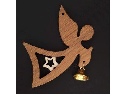 Dřevěná ozdoba z masivu - anděl s hvězdou a zvonkem 11 cm