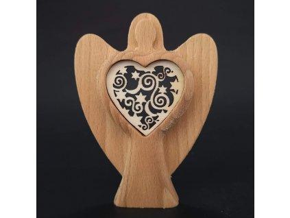 Dřevěný anděl s vkladem - ornament, masivní dřevo, výška 10 cm