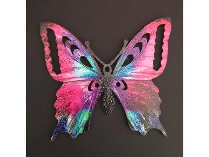 Dřevěná dekorace motýl fialový 9 cm