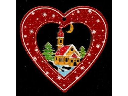 Dřevěná ozdoba barevná srdce s kostelem 6 cm