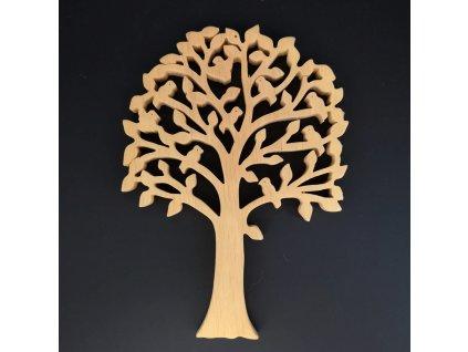Dřevěný strom s ptáčky, masivní dřevo, výška 24 cm