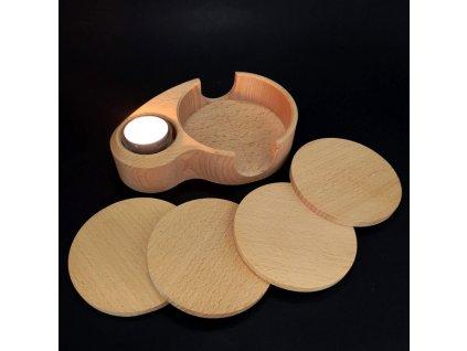 Dřevěný stojánek na podtácky ve tvaru ledviny a svícen 2v1,4 podtácky, masivní dřevo,18,5x12,5x4,5cm