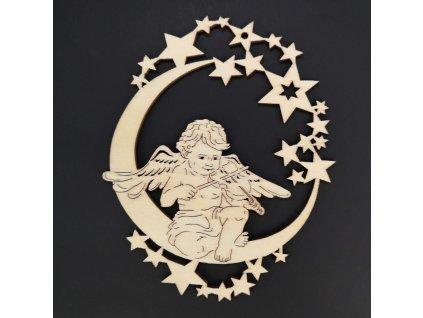 Dřevěná ozdoba anděl na měsíci s houslemi 9 cm