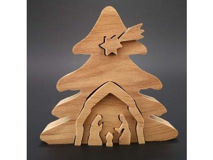Dřevěný betlém odstupňovaný, masivní dřevo, 10x9,5x2 cm
