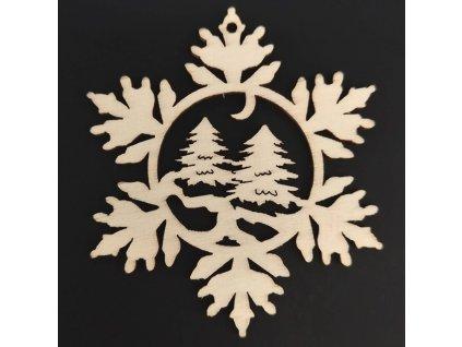 Dřevěná ozdoba vločka se stromy 9 cm