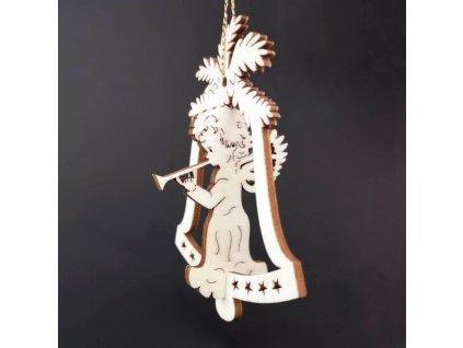 Dřevěná ozdoba 3D zvonek - anděl s píšťalou 9 cm